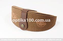 Джинсовий коричневий футляр для окулярів ручної роботи зі шкіряною вставкою