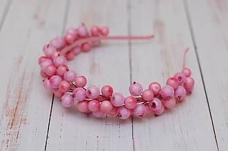 Обруч для волос / ободок на голову / украшение для волос нежно-розовый с ягодами калины