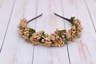 Обруч для волос / ободок на голову / украшение для волос в золотистом цвете с листиками