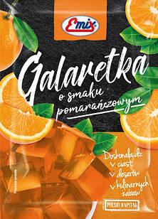 Желе (галаретка) со вкусом апельсина Galaretka Emix, в пакетиках 79г (Польша), Оригинал