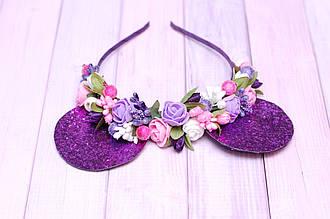 Обруч для волос / ободок для головы / украшения на голову для девочки с ушками минни маус и цветами