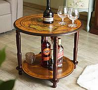 Сервировочный кофейный столик бар круглый деревянный Старинная карта коричневый d60см