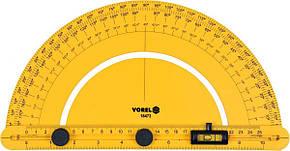 Транспортир(Разметочный)Строительный со шкалой 0-180 и подвижным уровнем l = 250 мм, с блокирующими винтами