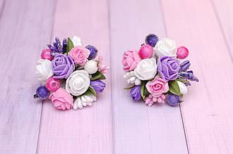 Резинки для волос детские с цветами бело-розово-фиолетовые украшение подарок для девочки