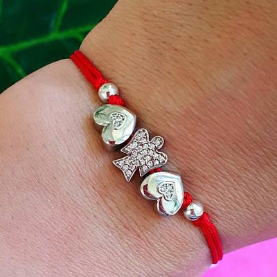 Браслет красная нить с серебром Ангелочек и сердечко - Браслет с сердечком - Серебряный браслет с ангелочком