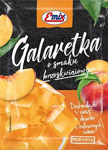 Желе (галаретка) со вкусом персика Galaretka Emix, в пакетиках 79г (Польша), Оригинал