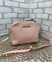 Пудровая женская сумка кроссбоди сумочка на цепочке через плечо кожзам
