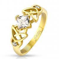 Женское кольцо с ромбовидным фианитом R-M4350G