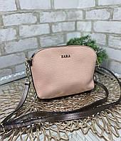 Стильная женская сумка через плечо клатч на цепочке сумочка пудра и бронза кожзам