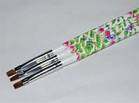 Кисть для геля прямая с цветочным принтом №6, кисть YRE YKGB-06-C, кисти для ногтевого дизайна