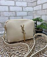 Бежевая женская сумка через плечо клатч на цепочке сумочка стильная кожзам