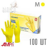 Перчатки нитриловые медицинские неопудренные (100 шт), Ampri Style Lemon Желтый. Размер: M