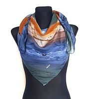Легкий платок Eripek Кейси 95*95 см голубой/бирюзовый