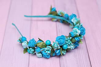 Обруч для волос / ободок на голову / украшение для волос с цветами бирюзовый
