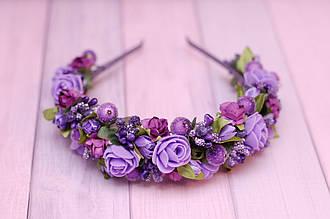 Обруч для волос / ободок на голову / украшение для волос с цветами фиолетовый