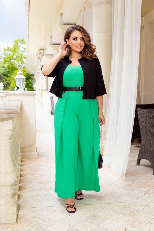 Жіночий костюм двійка комбінезон + болеро тканину льон розмір: 50-52, 54-56, 58-60