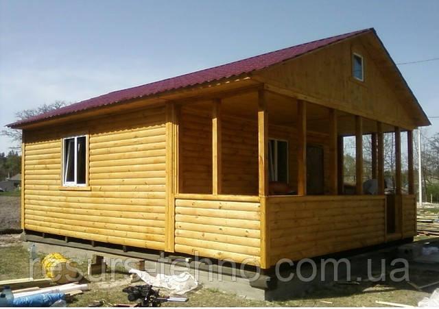 Дачний будиночок 6м х 6м з блокхаус з верандою