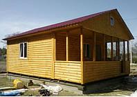 Дачный домик 6м х 6м из блокхауса с верандой
