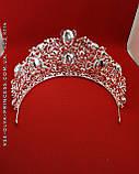 Высокая  корона, диадема, тиара под серебро,  высота 9 см., фото 3