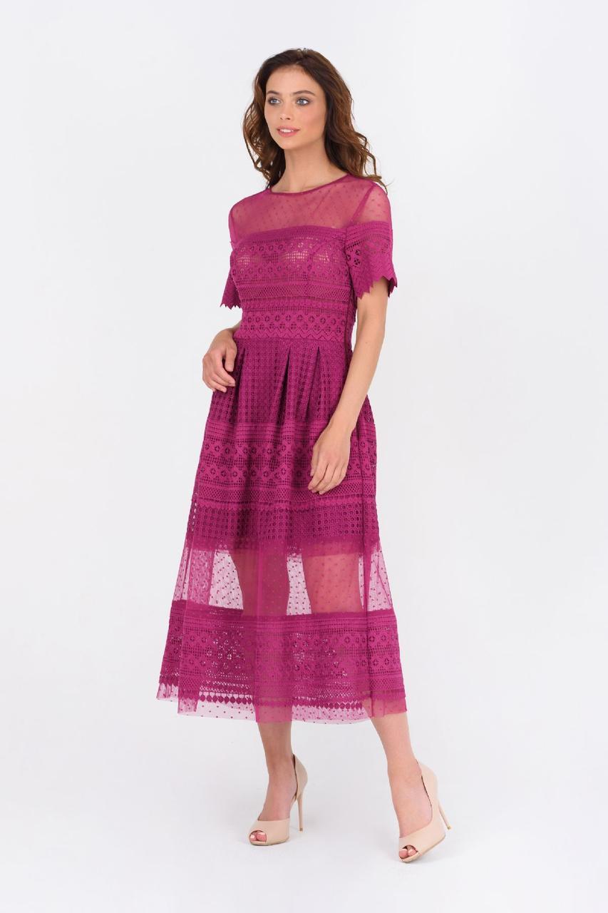 Женское нарядное платье дизайнерское фуксия миди RicaMare MKRM1985-19VC