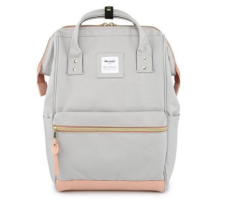 Стильная универсальная сумка рюкзак Himawari Розово-серая для покупок, для мам, студентам, школьникам