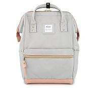 Стильная универсальная сумка рюкзак Himawari Розово-серая для покупок, для мам, студентам, школьникам, фото 1