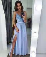 Шёлковое  вечернее платье макси с  отделкой  из гипюра