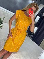 Линда, летнее красивое женское платье в горох желтое, размеры от 44 до 54
