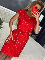 Линда, летнее красивое женское платье в горох красное, размеры от 44 до 54