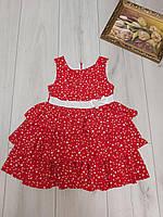 Сарафан дитячий для дівчинки з пояском Горох розмір 4-6 років, червоного кольору