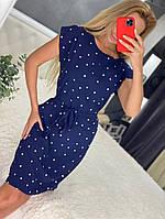 Линда, летнее красивое женское платье в горох синее, размеры от 44 до 54