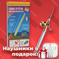Карманная складная походная мини удочка - ручка Fish Rod In Pen Case
