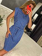 Линда, летнее красивое женское платье в горох голубое, размеры от 44 до 54