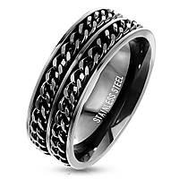 Черное мужское кольцо из стали с двумя цепочками от Spikes, р. 18, 19,20, 20.5, 21.5, 22