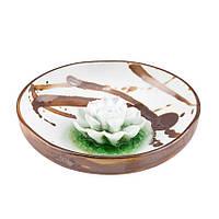 Подставка для благовоний Лотос в чаше Фарфор 12х12х3,5 см Шоколадные брызги 21927, КОД: 1932325