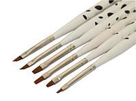 Набор кистей для геля 6 шт белая ручка горох, набор кистей YRE NK-03, все для нейл арта