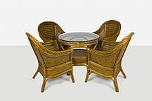 Обеденный комплект Монте Карло CRUZO стол и 4 кресла натуральный ротанг светло-коричневый ok0049, КОД: 1925281