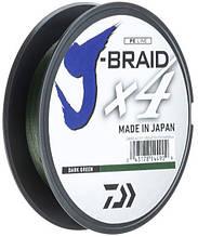 Шнур рыболовный Daiwa J-Braid X4E 0.21 мм - 135 м Dark Green, КОД: 2418438