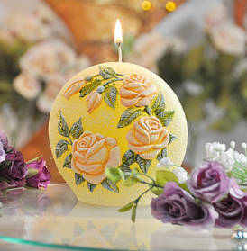 Cвеча Садовая роза диск SKL11-209198