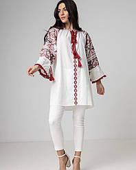 Хлопковое платье-вышиванка свободного кроя длиною до колена в размере S-L.