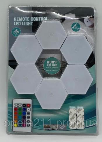 Модульная настенная Шестигранная комбинированная Лампа Цветная SR-359 (1+6) Wall light (RGB) (40шт)