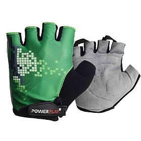 Велорукавички PowerPlay 002 C Зелені M SKL24-144675