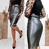 Женская кожаная юбка графит SKL11-280084, фото 2