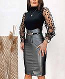 Женская кожаная юбка графит SKL11-280084, фото 3