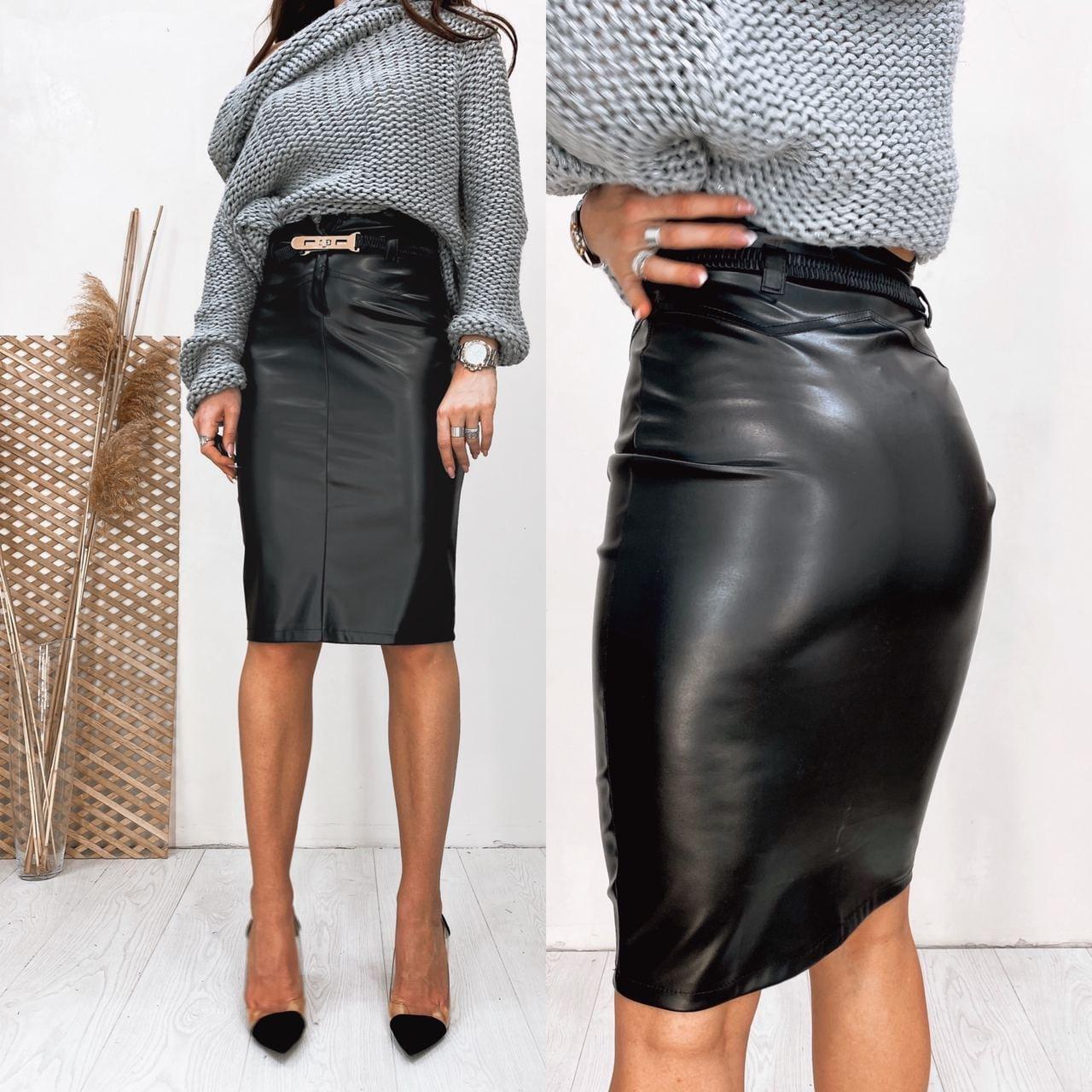 Женская кожаная юбка черная SKL11-280083