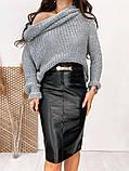 Жіноча шкіряна спідниця чорна SKL11-280083, фото 2