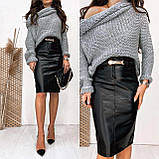 Женская кожаная юбка черная SKL11-280083, фото 3