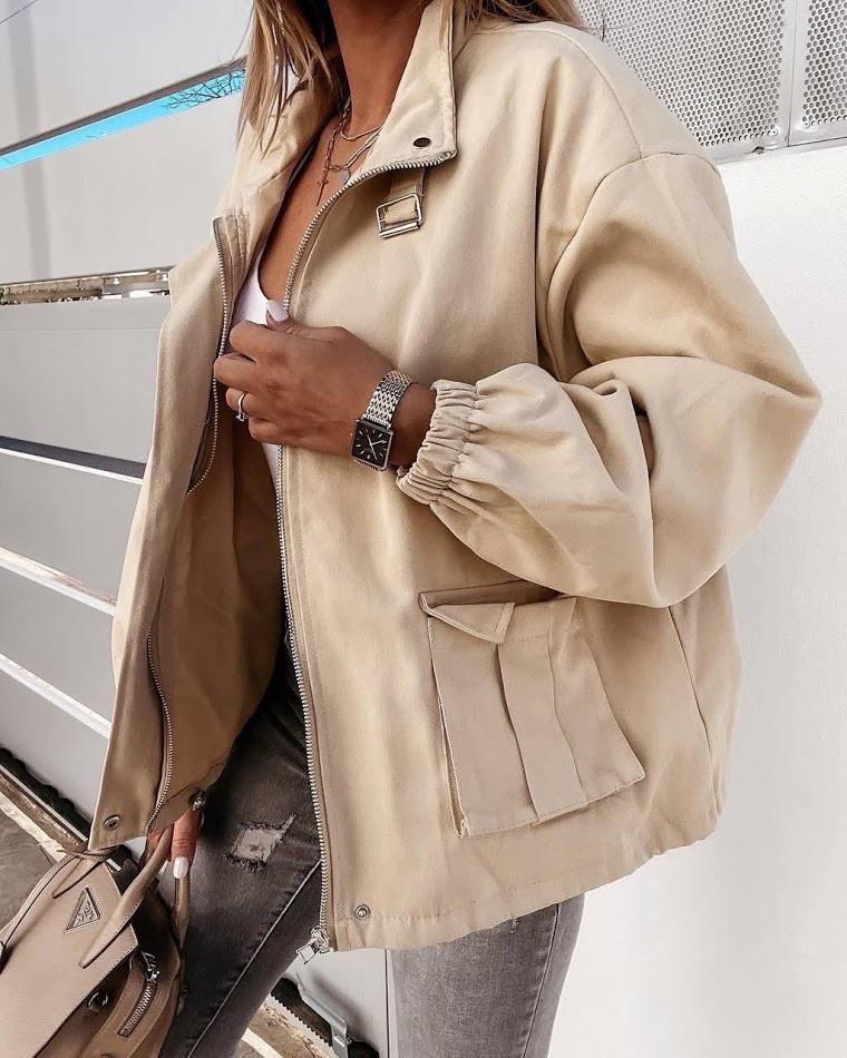 Жіноча джинсова куртка бежева SKL11-289874