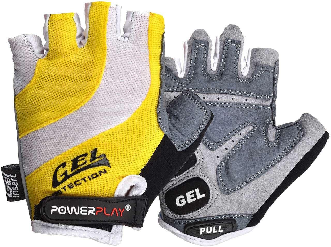 Велорукавички PowerPlay 5034 B Біло-жовті XS SKL24-144565