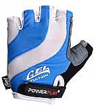 Велорукавички PowerPlay 5034 Біло-блакитні L SKL24-144579, фото 2